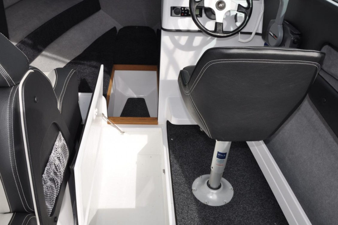 Storage abounds with large side pockets, under seat storage and floor locker | Haines Hunter