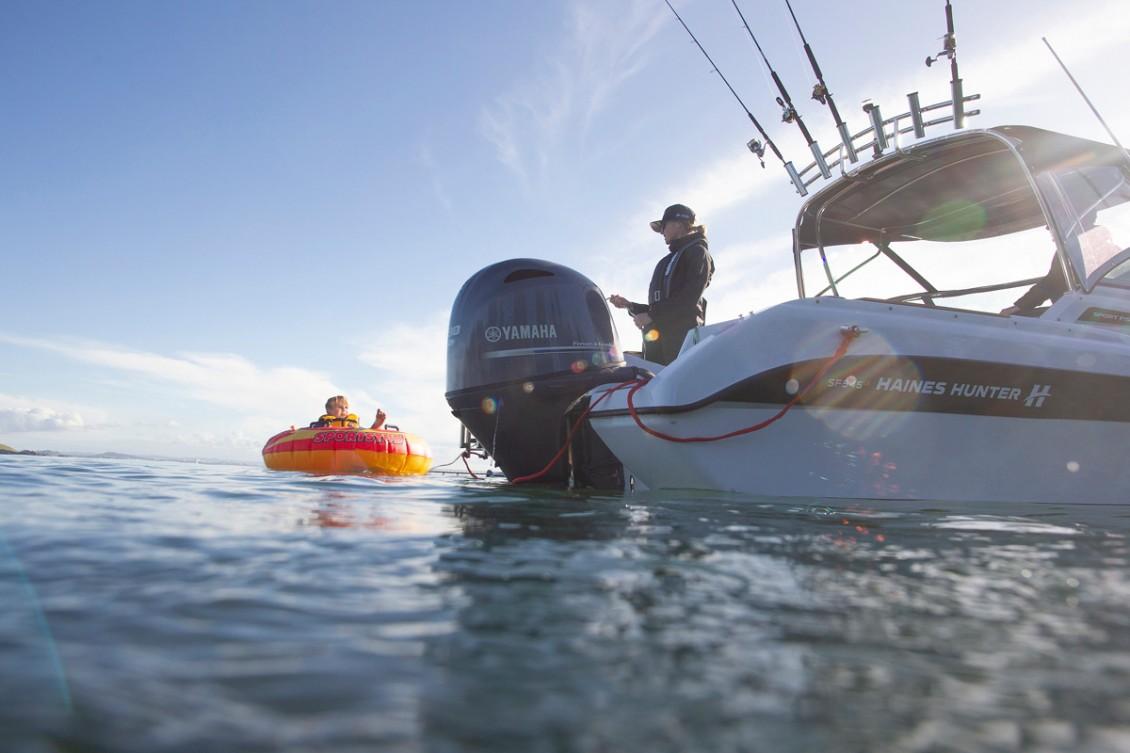 A self-draining anchor locker, boarding ladder and Portofino transom come standard | Haines Hunter